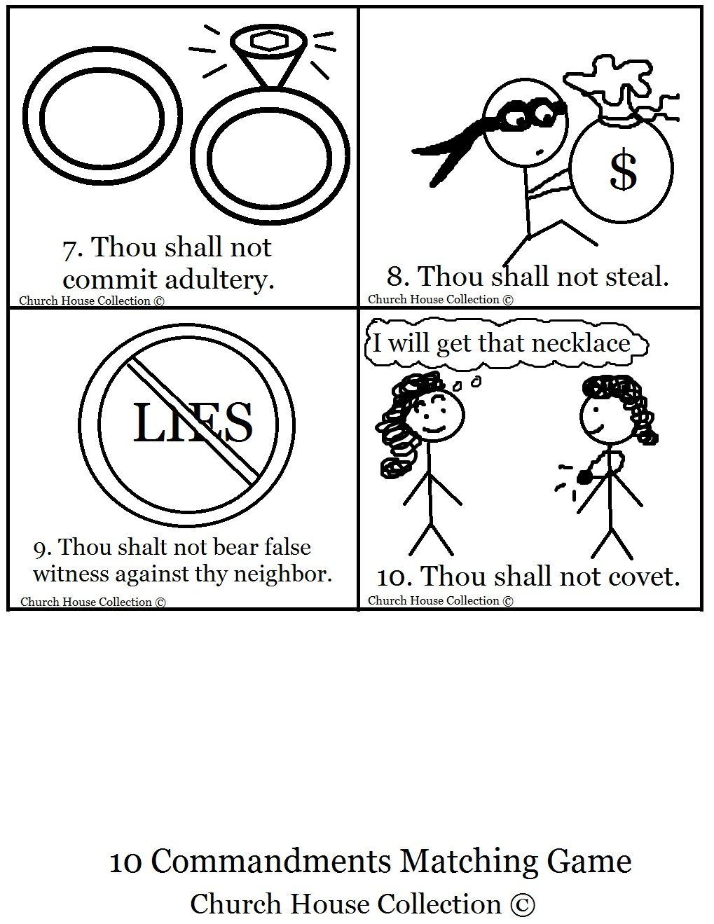 10 Commandments Bible Matching Game Printable 10 Commandments