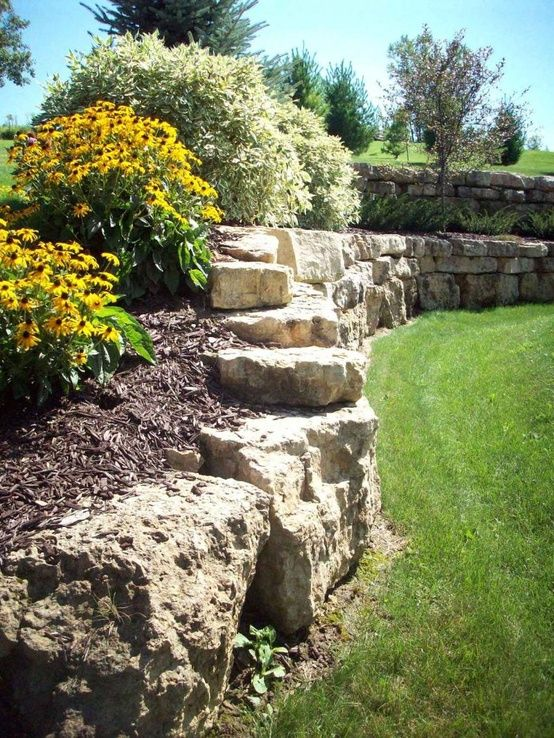 Natural Limestone Walls : Natural limestone boulder retaining wall boulders are