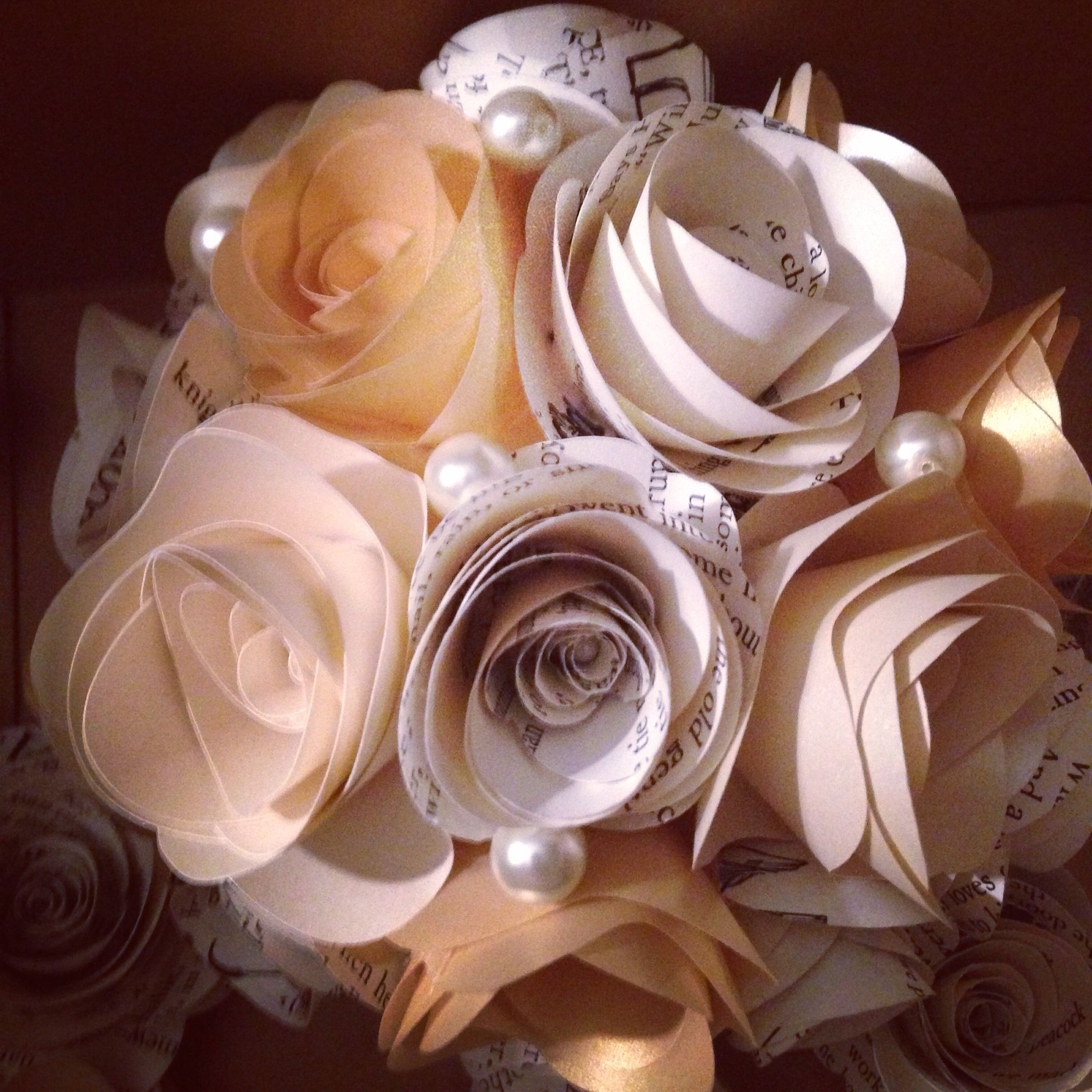 Paper Flower Bouquet Made With Book Pages Using Cricut Paper