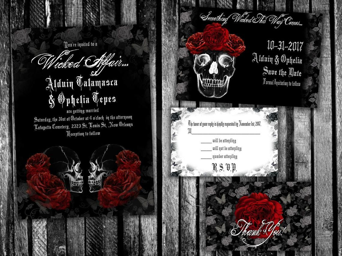 Image 0 Halloween Wedding Invitations Halloween Wedding Skull Wedding Invitation