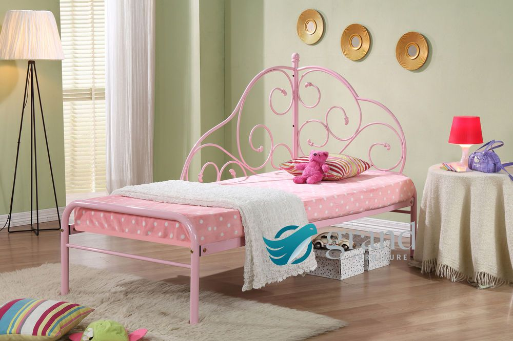 Alice Pink Metal Frame Day Bed Style Kids Princess Girls Cream ...