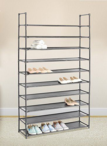 Black 10 Tiers Shoe Rack 50 Pairs Non-woven Fabric Shoe T..  sc 1 st  Pinterest & Black 10 Tiers Shoe Rack 50 Pairs Non-woven Fabric Shoe T... https ...