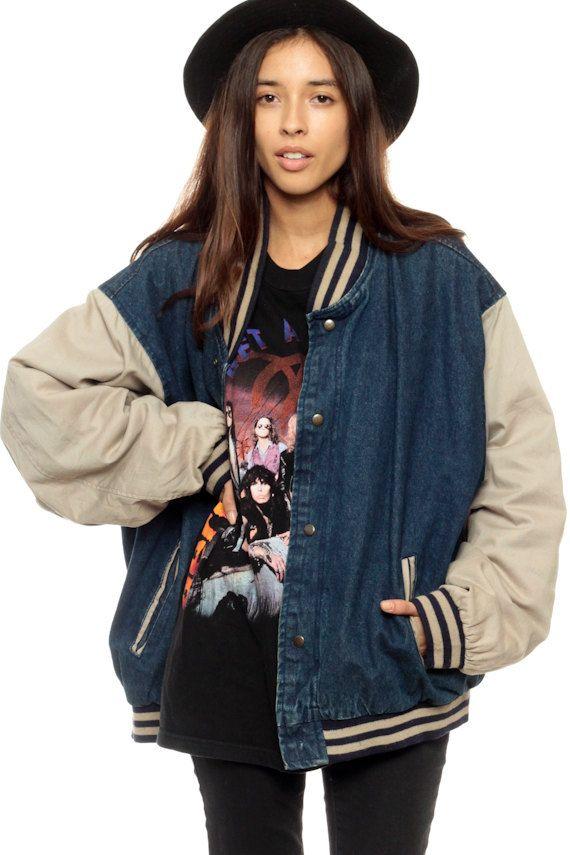 Baseball Jacket 80s Denim Varsity 90s Dark Jean Sport Coat Beige Letterman Vintage Blue Spo Baseball Jacket Outfit Blue Jackets Outfits Letterman Jacket Outfit