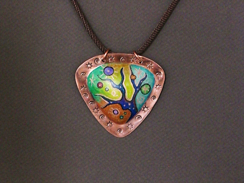 colored pencil on copper pendant by roxan o 39 brien designs