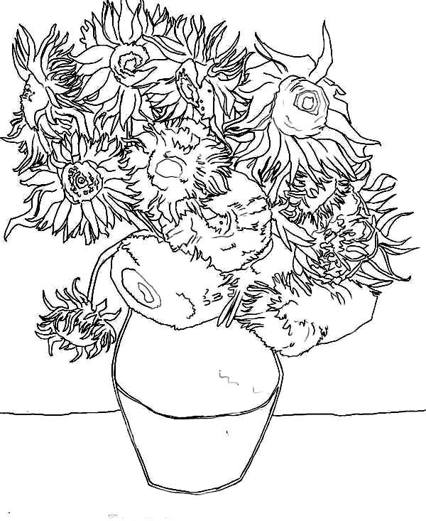 Sunflower Coloring Page Van Gogh Sunflower Coloring Pages