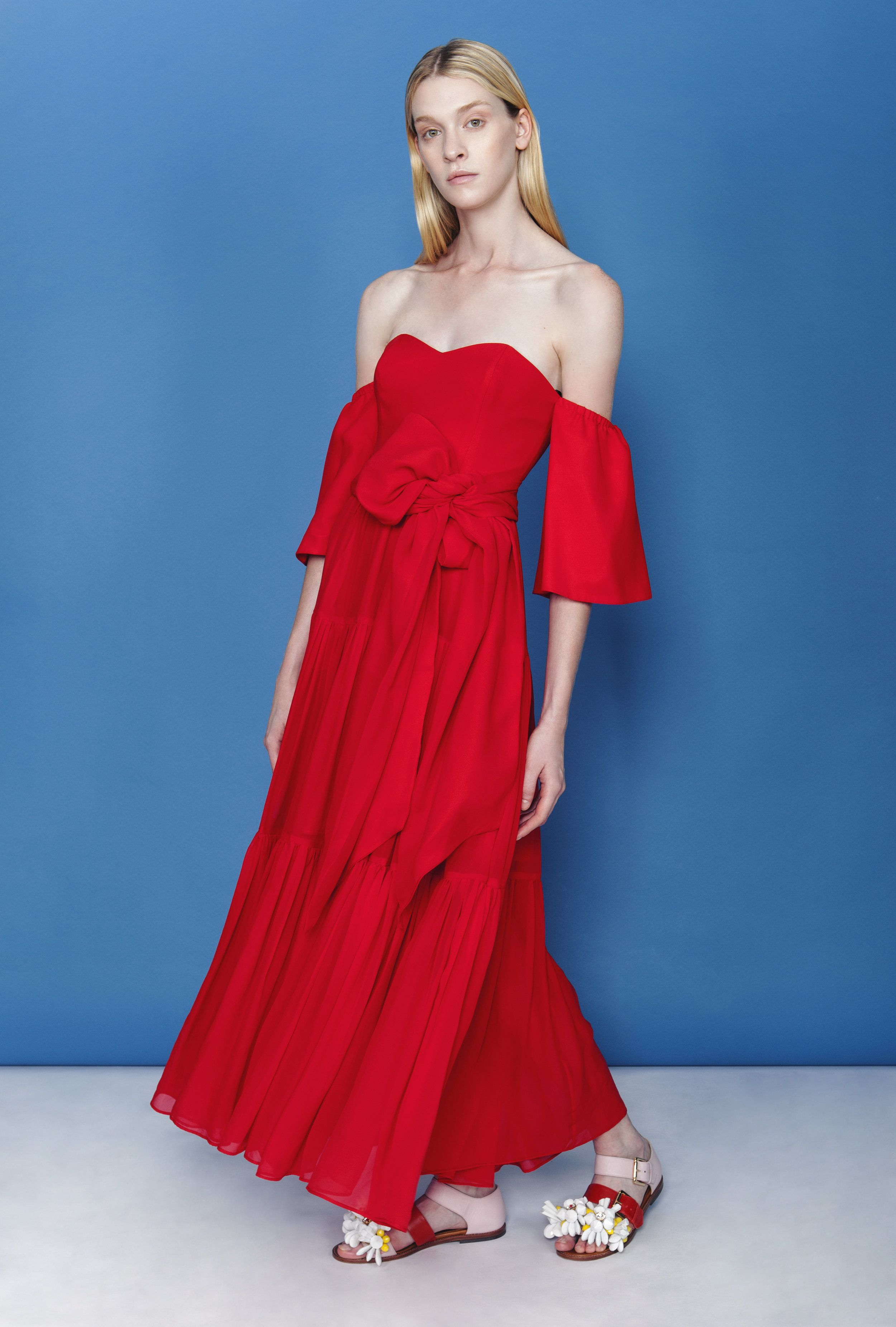 Off-shoulder red silk maxi dress with short sleeves and ribbon ...