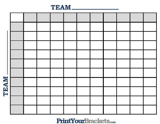 Printable 100 square grid football pool Football Party Ideas