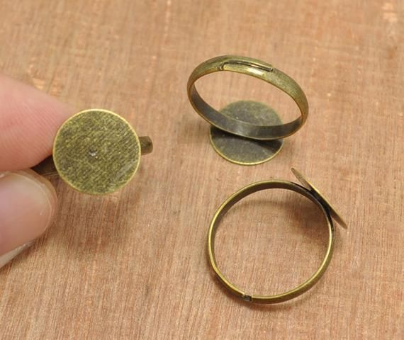 Antique Bronze Plated Adjustable Ring Base Blank with 12mm Flat Pad 20pcs Jewellery Findings