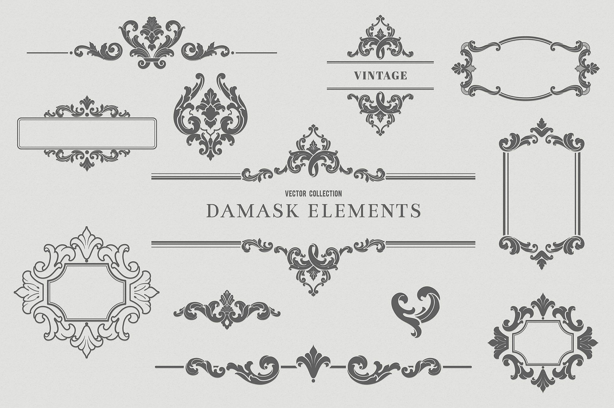Vintage Damask Elements Iii Damask Design Elements Ornaments Design