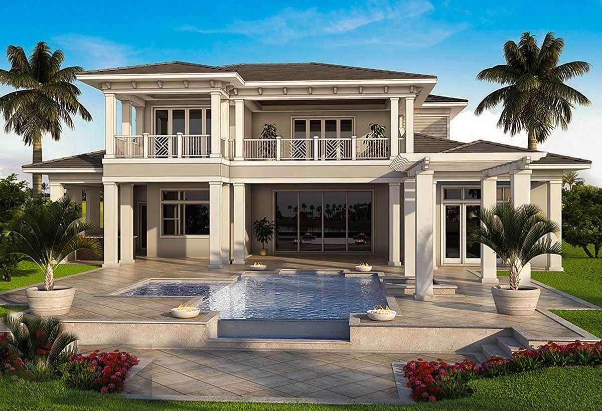 Plan 86051bw Spacious Tropical House Plan Tropical Beach Houses Beach House Design Florida House Plans