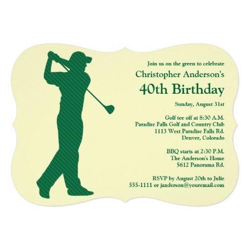 Golfer Golf Green tan 40th Birthday Invitation