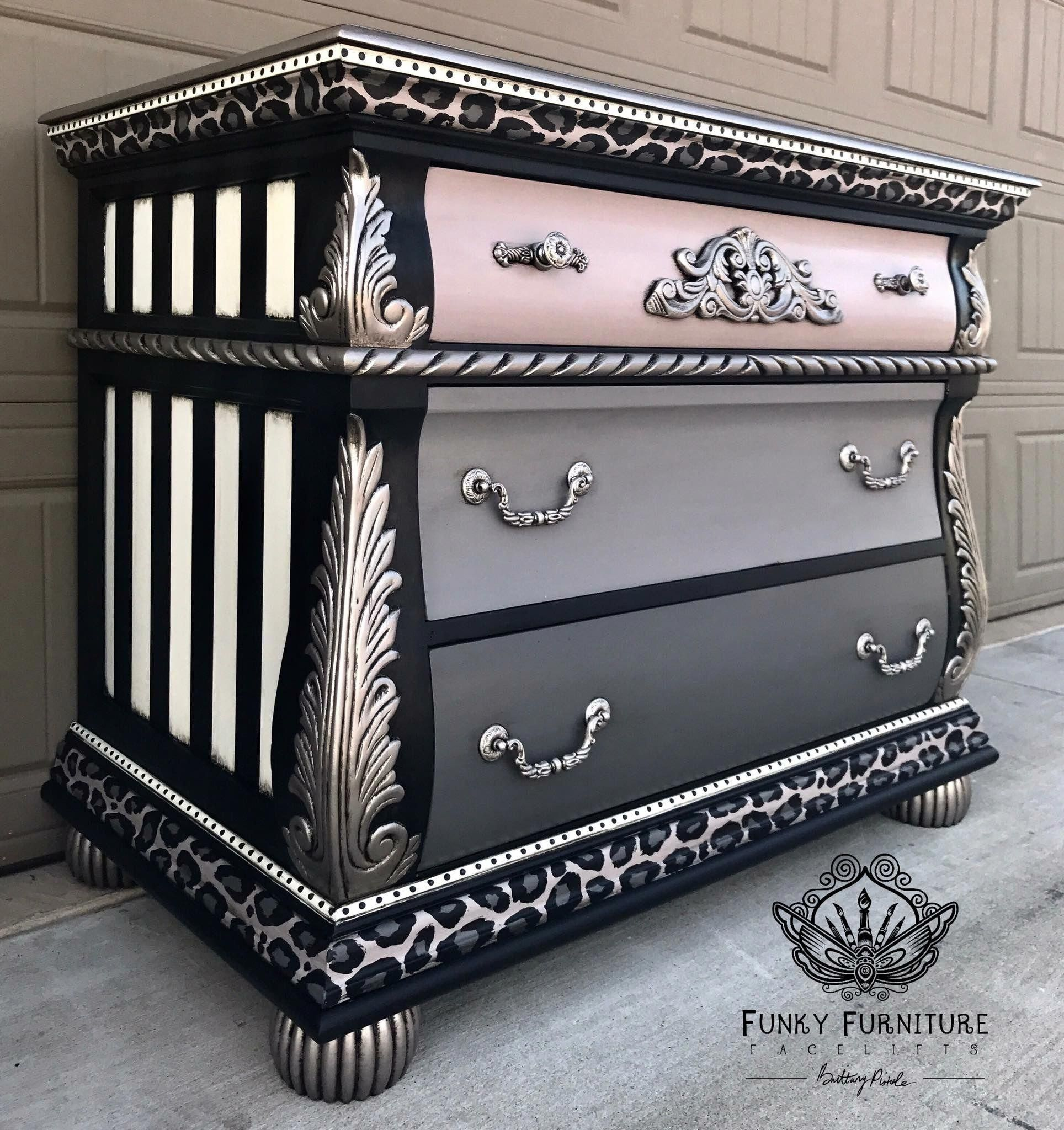 Leopard And Metallic Finish Furniture #Paintedfurniture