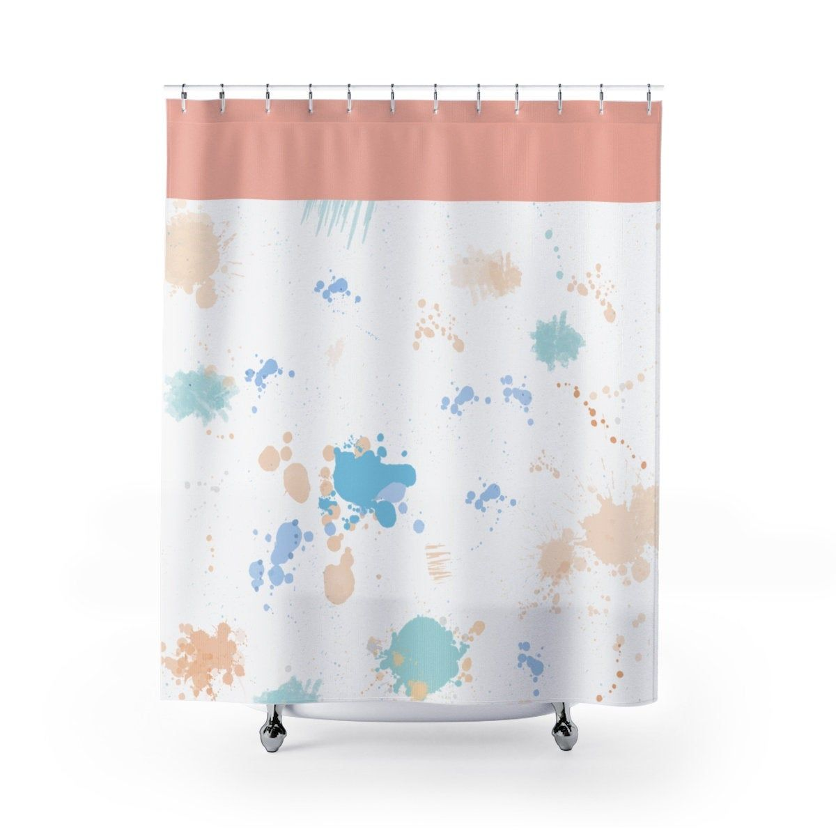 Colorful Shower Curtain Paint Stains Desogned Colorful Shower
