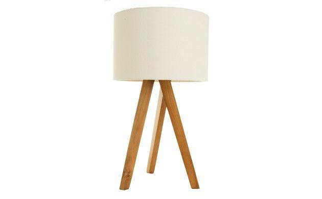 Cream Smedley Wooden Tripod Table Lamp   Tripod table lamp