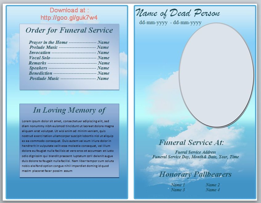 Free Funeral Pamphlet Template  Free Funeral Program Templates Download