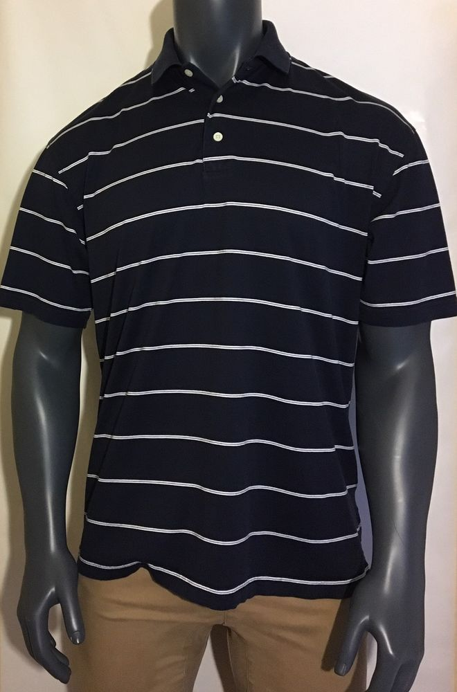 60d4844822b06 TOMMY HILFIGER SHORT SLEEVE BLUE WHITE STRIPED POLO SHIRT MENS M EXCELLENT   TommyHilfiger  PoloRugby