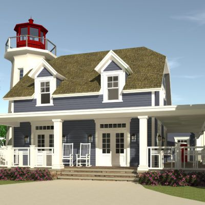 3 Bedroom House With Attached Lighthouse Tyree House Plans Beach House Plans Coastal House Plans House With Porch