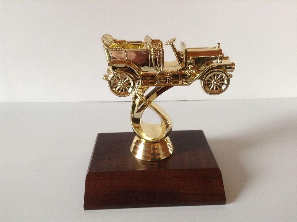 Antique Car Pattern Gold Color Plastic Trophy Topper Award Prize