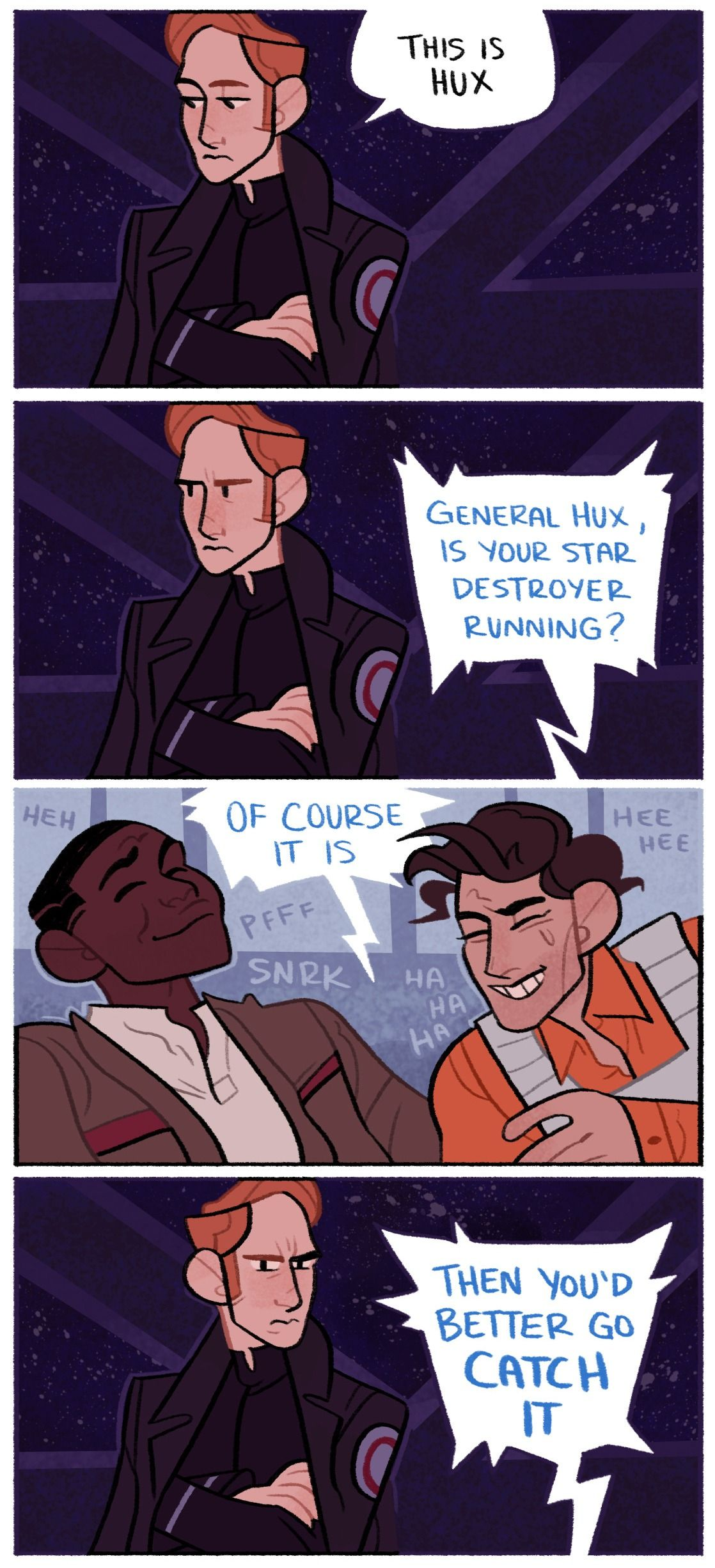 How are they even getting patched through at this point I mean wouldn't the FO have learnt to block any and all Resistance transmissions because of Poe kriffing Dameron. Who may or may not be the greatest troll in the history of the galaxy far far away...