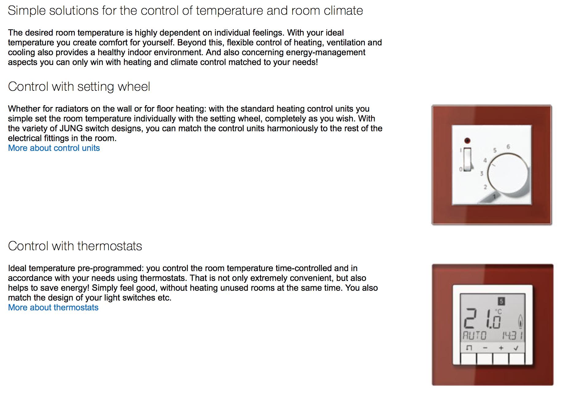 JUNG room temperature, Door communication, Intelligent Building ...