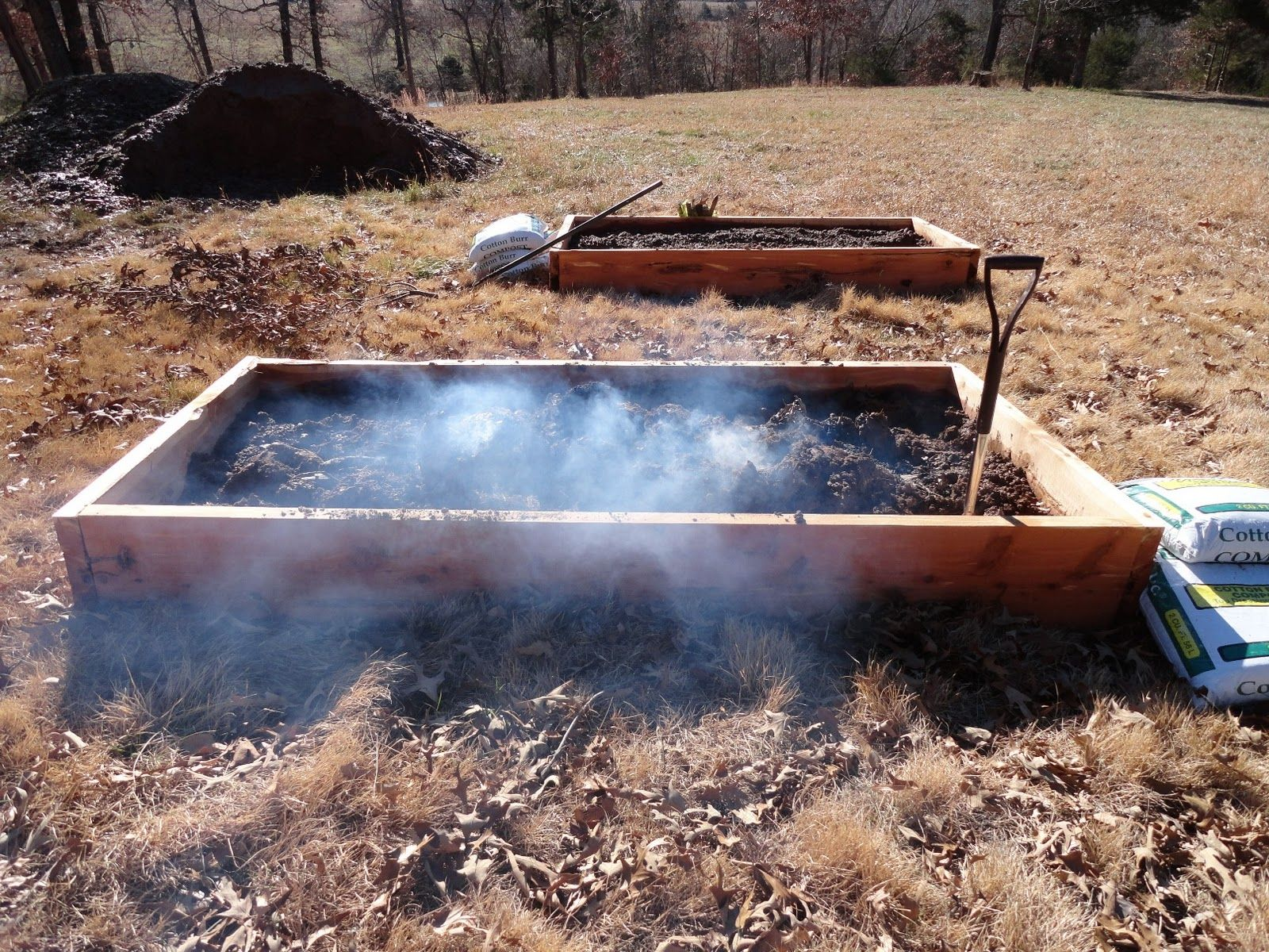 Preparing Biochar In One Of The Other Raised Garden Beds By Partially  Burning And Then Smoldering