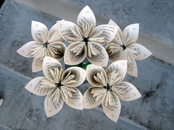 These beautiful handmade paper flowers are made from the book - Harry Potter and the Deathly Hallows by JK Rowling.