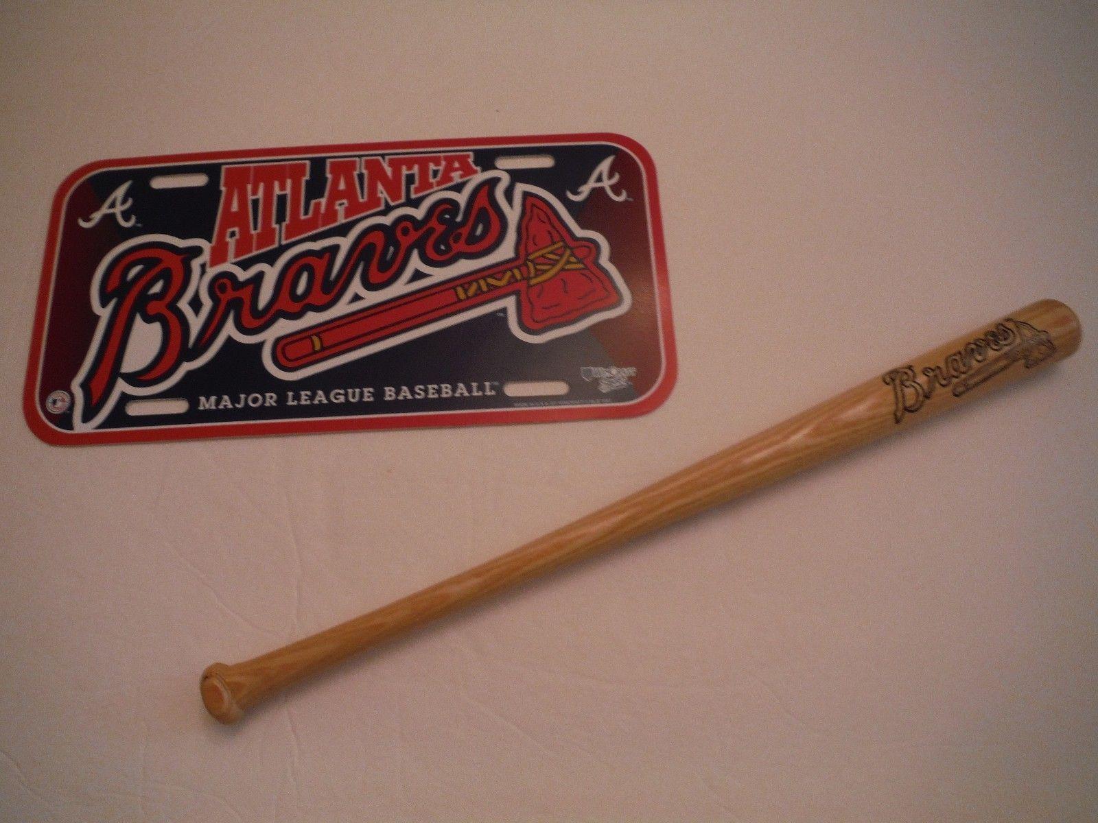 Atlanta Braves Souvenir Set Wsb Radio Network Mini Bat And Plastic License Plate Braves Major League Baseball Atlanta Braves
