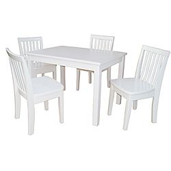 @Overstock.com - Juvenile Linen White Table with Four Chairs Set - Let your kids eat and play in style with this cute table and chair set.  sc 1 st  Pinterest : childrens white table and chair set - pezcame.com