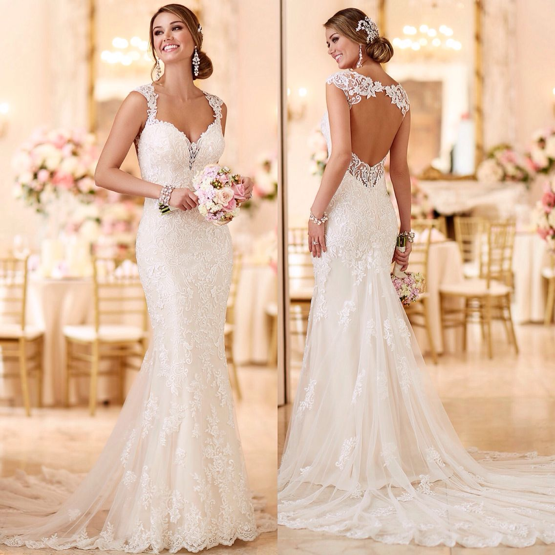 Cute  Stella York lace fitted wedding dress with key hole back backless straps long train