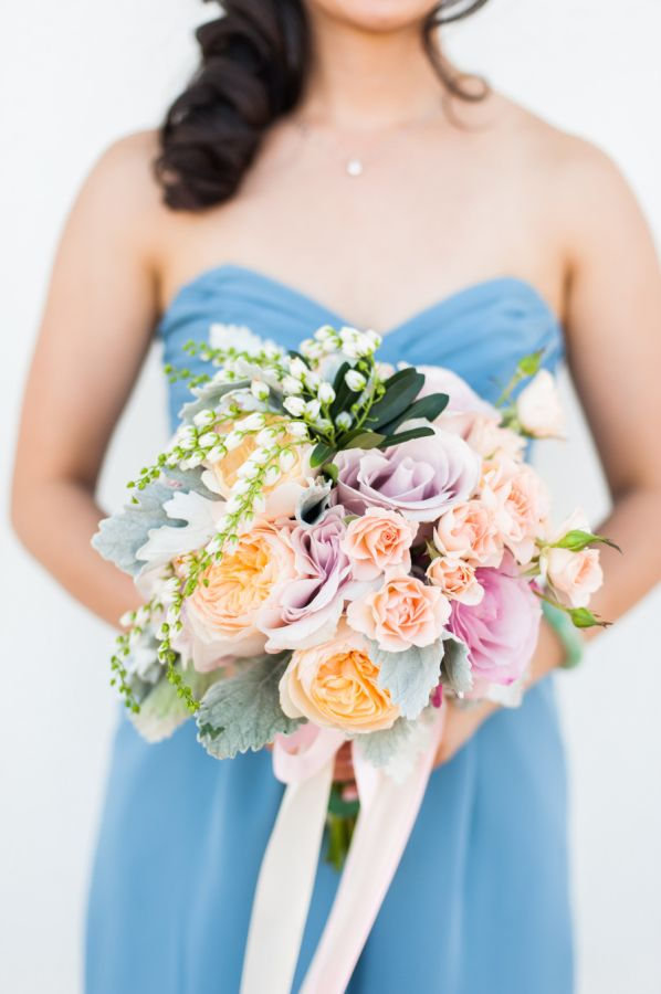 Lavender and peachy hued bridesmaid bouquet: http://www.stylemepretty.com/california-weddings/pleasanton/2015/12/04/whimsical-starry-nights-inspired-wedding/   Photography: Candice Benjamin - http://www.candicebenjamin.com/