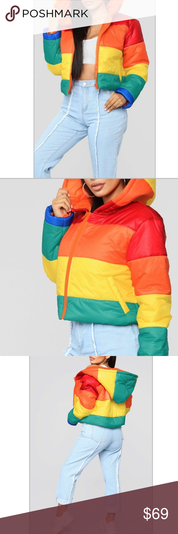 Rainbow Striped Puffer Coat 70 S Throwback Clothes Design Fashion Design Puffer Coat [ 1740 x 580 Pixel ]
