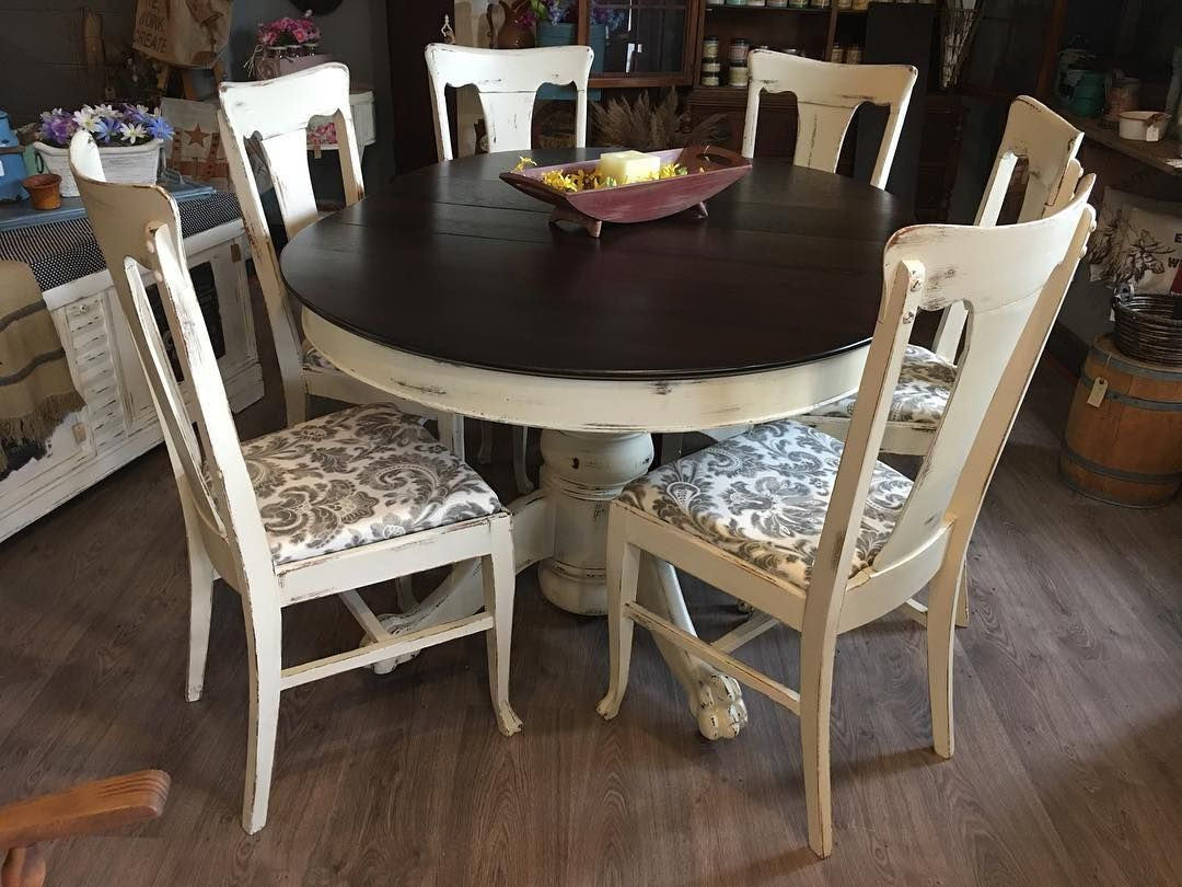 Solid Quarter Sawn Oak Claw Foot Table And 6 Oak Chairs And 3 Leaves Painted In Antique White Round Kitchen Table Distressed Dining Table Oak Table And Chairs