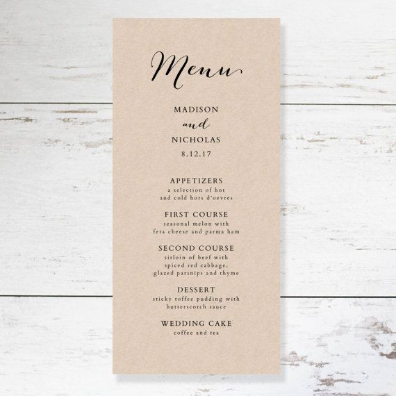Wedding Menu Template Rustic Wedding Menu Printable Menu  Bday