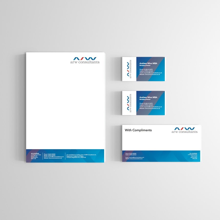Letterhead compliment slip and business card designs for letterhead compliment slip and business card designs for northampton based company arw consultants limited reheart Image collections