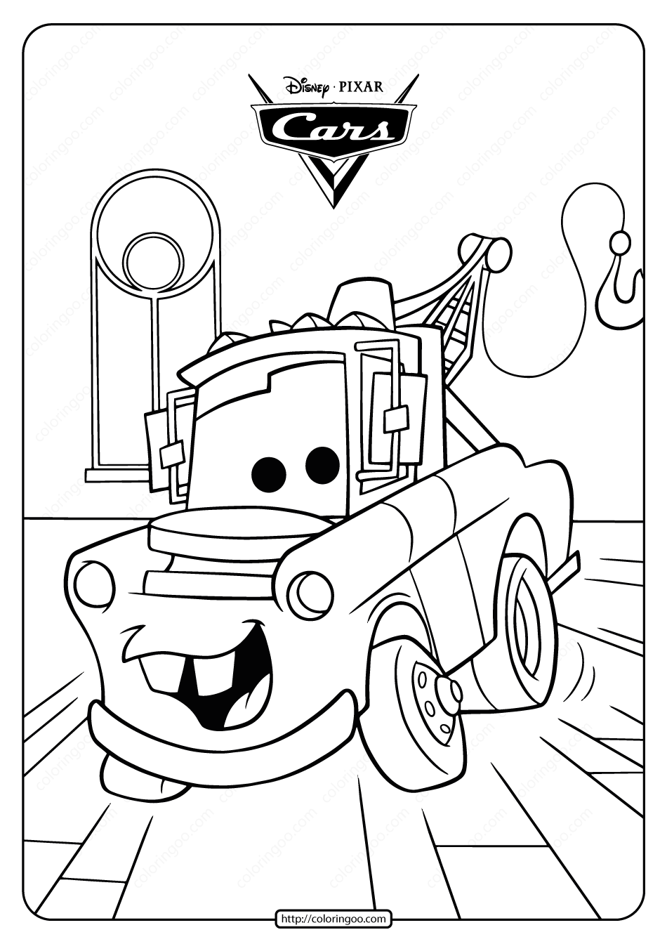 Disney Cars Tow Mater Truck Coloring Pages Monster Truck Coloring Pages Cartoon Coloring Pages Truck Coloring Pages