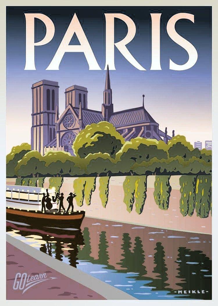 Vintage Paris France Voyage Art Déco Design Affiche A1,A2,A3,A4 Tailles