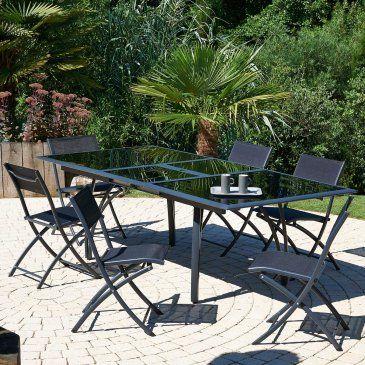 Salon de jardin - Table + 6 chaises, aluminium plateau noir ...