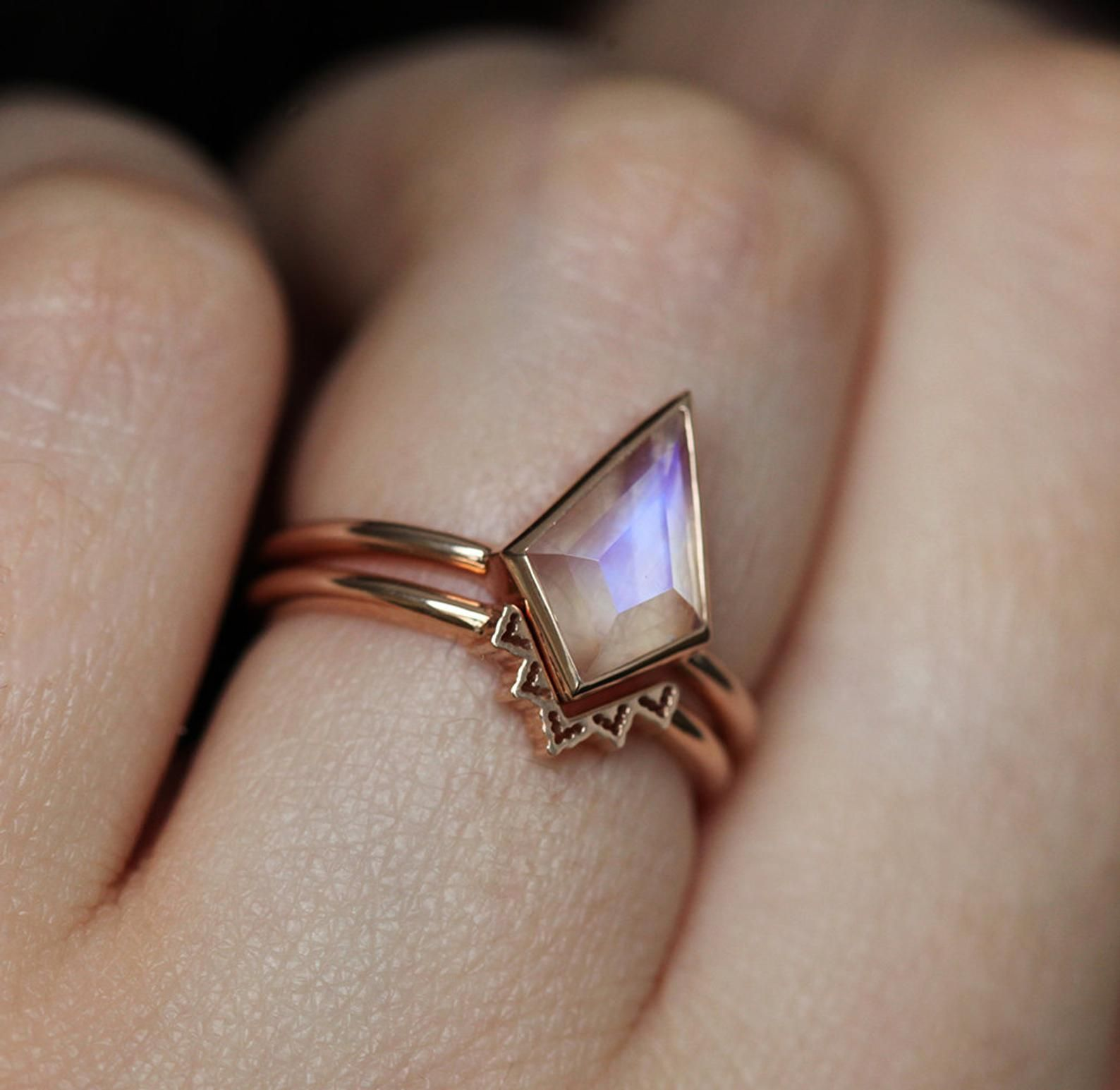 Photo of Blue Moonstone Ring, Kite Moonstone Engagement Ring, Geometric Moonstone Ring Rainbow Rose Gold, Moonstone Solitaire