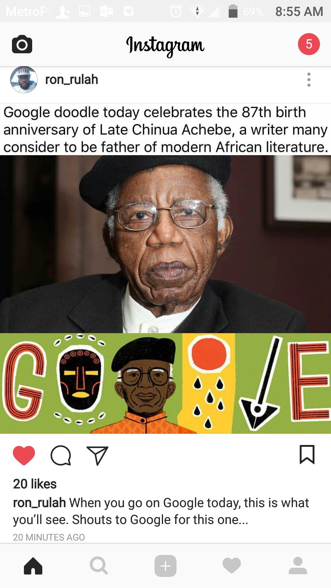 Chinua African literature, Google today, Google doodle today