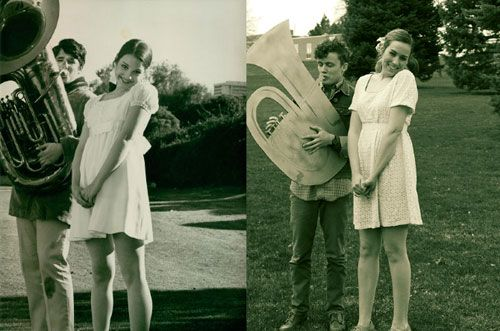 For a BFA assignment, Caitlin Watson imitates her mother's modeling photos from the 60s