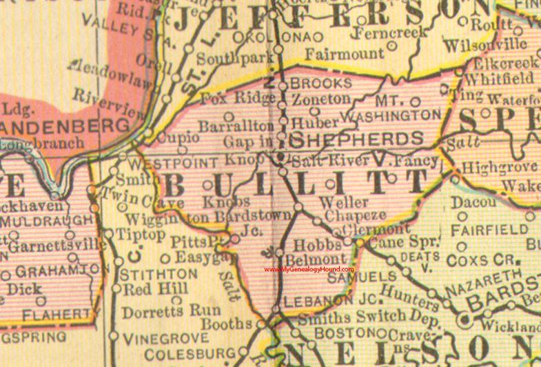 Bullitt county kentucky 1905 map shepherdsville