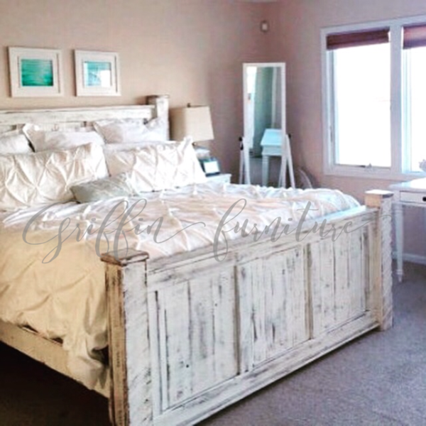 The Ultimate Look For A Beach Cottage Or Shabby Chic Inspiration To This White Distressed Panel Bed Carries You Wood Bed Frame Rustic Bed Frame King Bed Frame