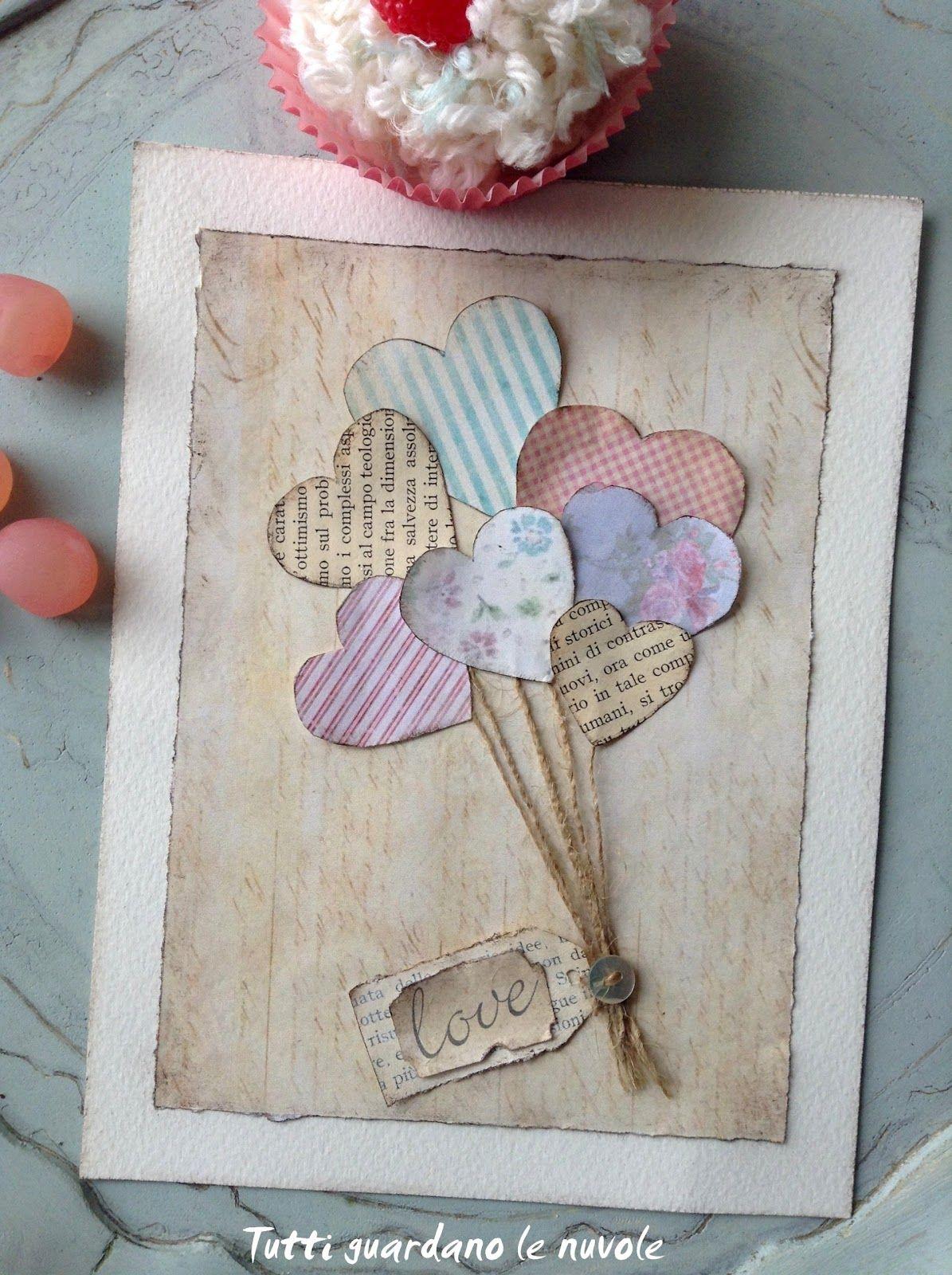 Decorazioni Lettere D Amore tre biglietti per s. valentino in stile scrap-vintage