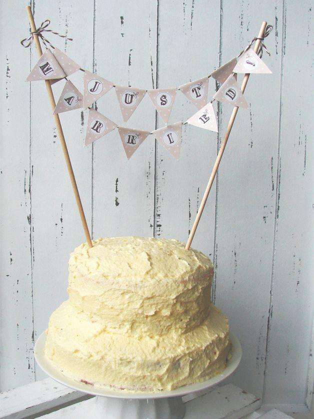 Kuchen Girlande Im Vintage Look Zur Hochzeit Diy Cake Topper