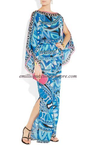EMILIO PUCCI Printed Silk-Chiffon Kaftan Dress Blue