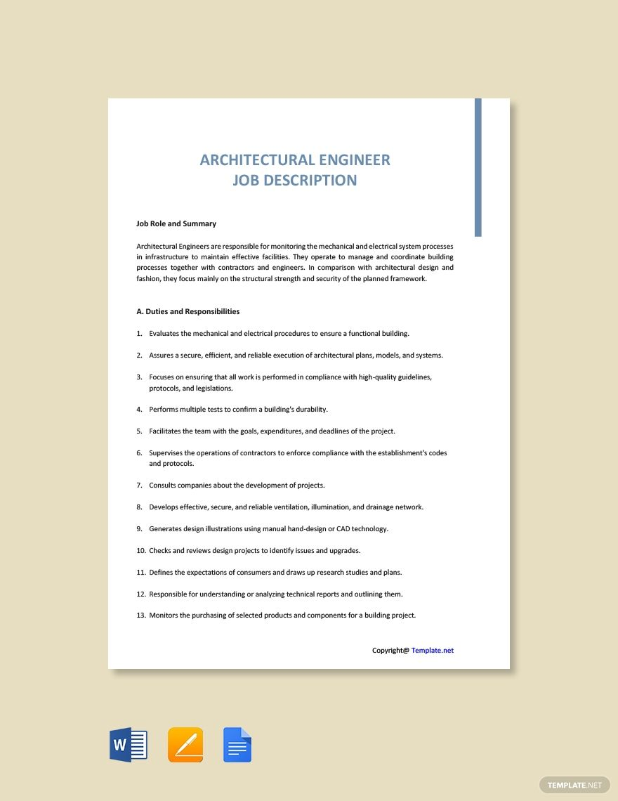 Free Architectural Engineer Job Description Template AD