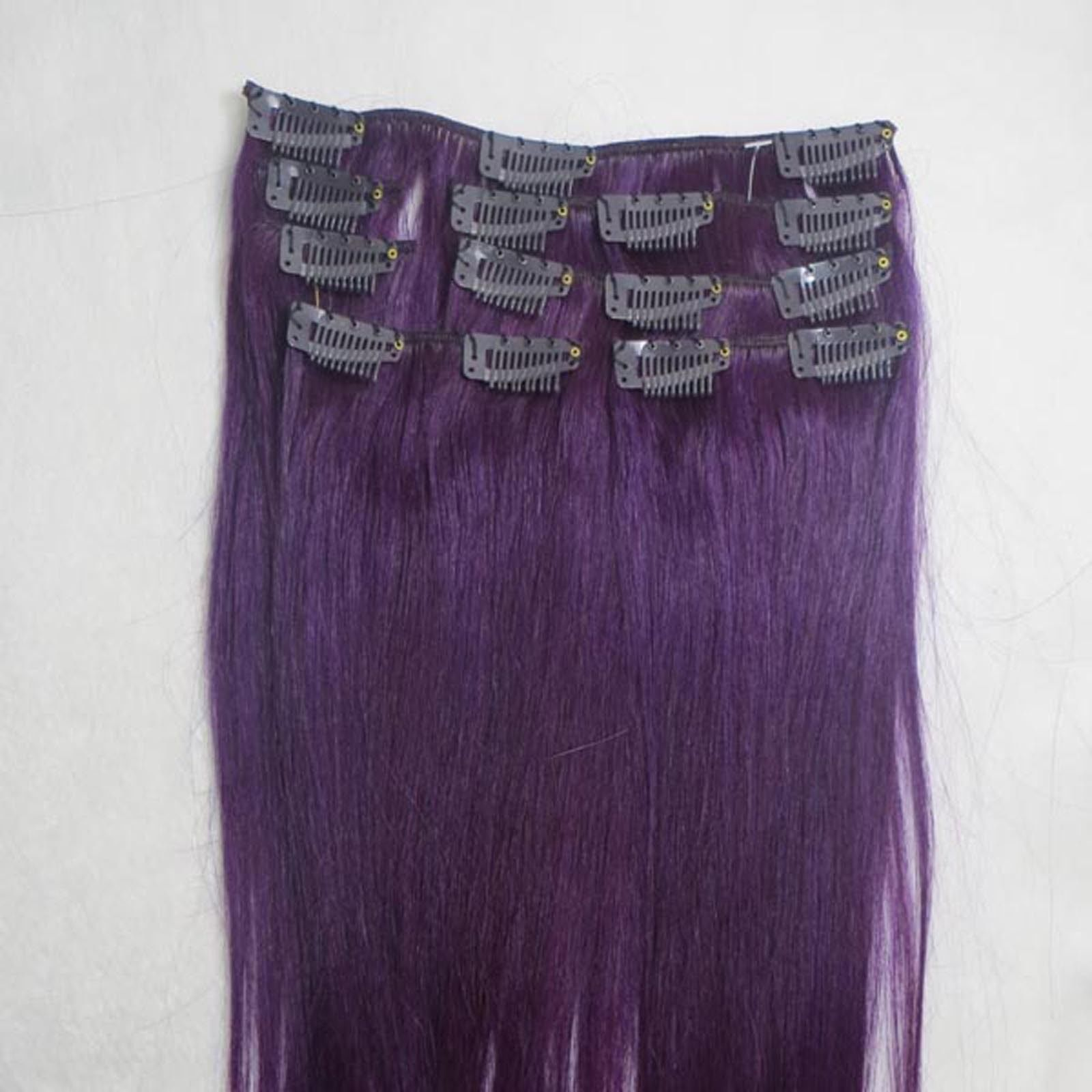 15 Clip In Remy Real Human Womens Hair Extensions Straight 75g