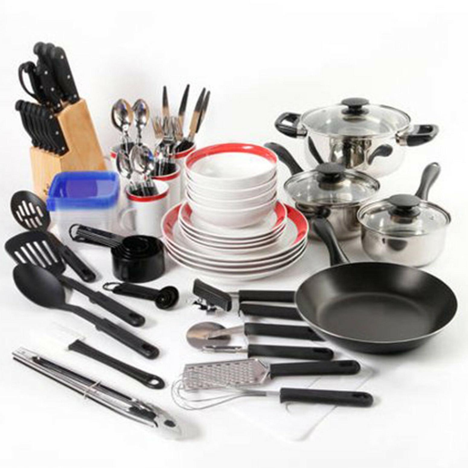 Essential Total Kitchen 83 Piece Combo Set Black Kitchen Essentials Kitchen Cookware Utensil