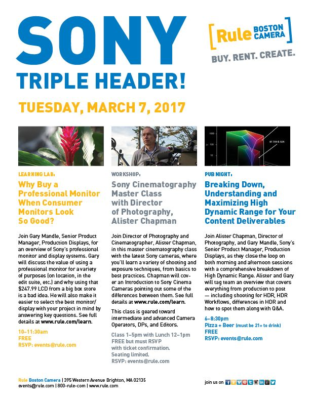 Join Us For A Sony Triple Header On Tuesday March 7th Gary