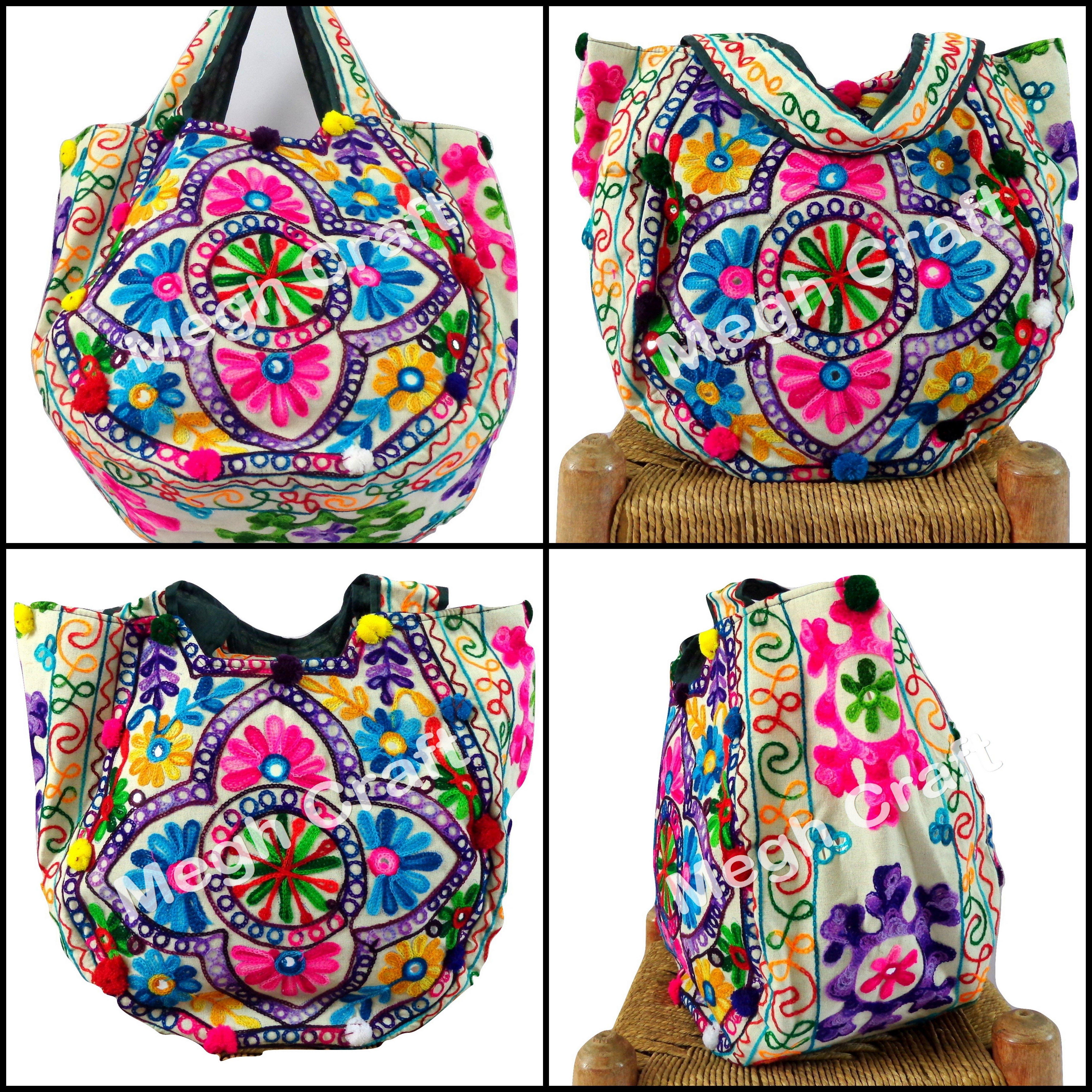 6a96f585ab Indian Traditional kutch embroidered handbag - Vintage mirror work  emboidery shoulder bag - Designer banjara tote